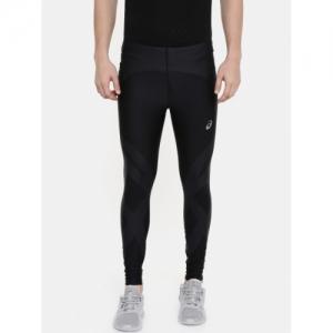 ASICS Men Black Printed Finish Advantage Quick-Dry Running Tights