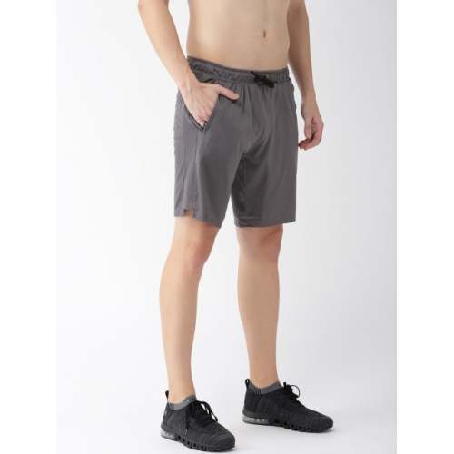 2GO Grey Textured Regular Fit GO-DRY Anti-microbial Sports Shorts