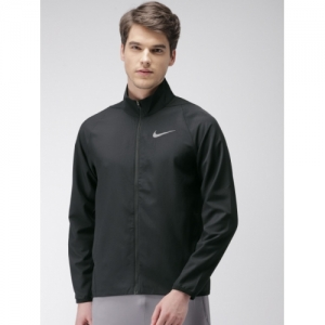 Nike Men Black Solid AS DRY-FIT TEAM WOVEN Sporty Jacket