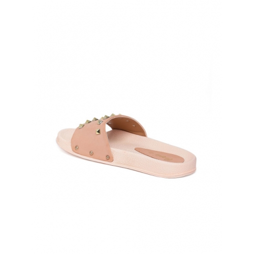 People Pink Synthetic lip-On Embellished Slipper