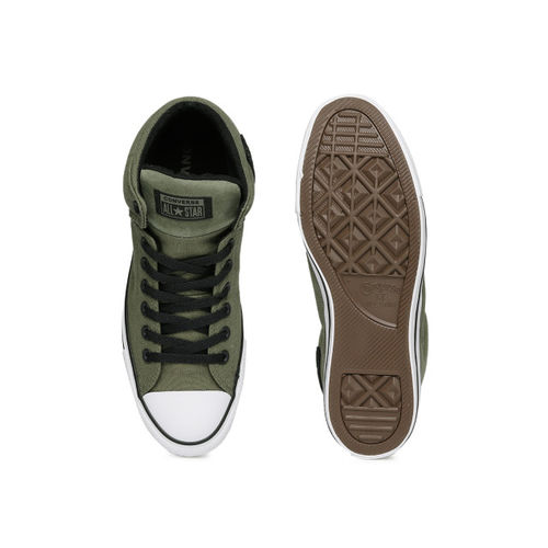 Converse Men Olive Green Solid Mid-Top Sneakers
