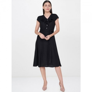 AND Women Black Solid Fit & Flare Dress