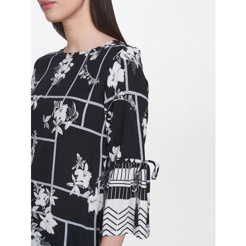 AND Women Black & White Printed A-Line Dress