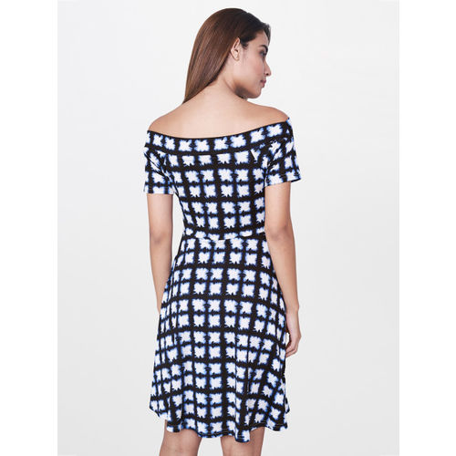 AND Women Black checked A-Line Dress