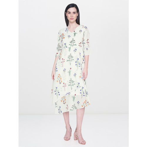 AND Women Off-White Printed A-Line Layered Dress
