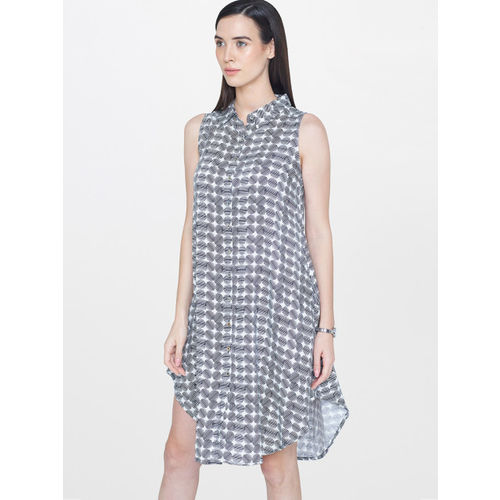 AND Women White Printed A-Line Dress