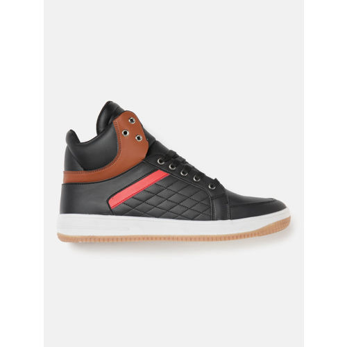 Crew STREET Men Black Quilted Mid-Top Sneakers