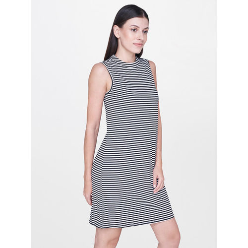 AND Women Navy Blue & White Striped Sheath Dress