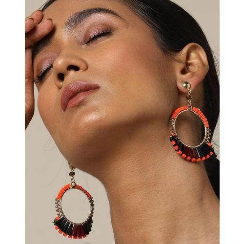 Indie Picks Metal Glass Bead Chandbali Earring