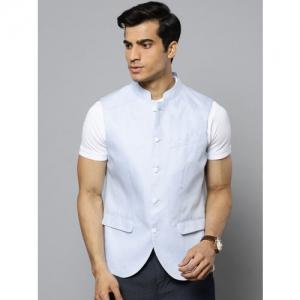 Blackberrys Men Blue Linen Slim Fit Solid Nehru Jacket