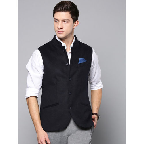 Blackberrys Men Navy Blue Solid Slim Fit Nehru Jacket