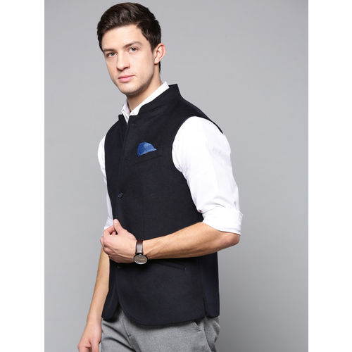 Blackberrys Men Navy Blue Solid Slim Fit Nehru Jacket