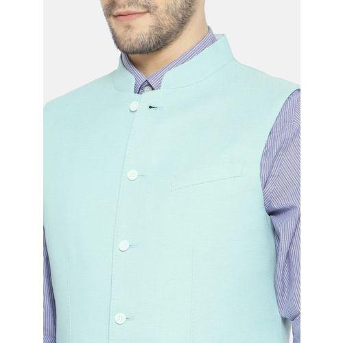 Blackberrys Men Blue Solid Slim Fit Nehru Jacket