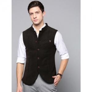 Blackberrys Men Coffee Brown Solid Slim Fit Nehru Jacket