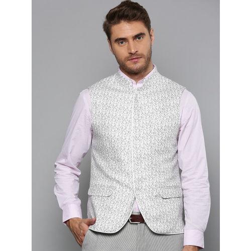 Blackberrys Men White & Green Linen Printed Slim Fit Nehru Jacket