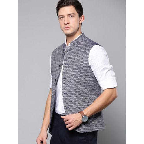 Blackberrys Men Navy Blue & White Self-Design Slim Fit Nehru Jacket