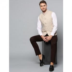 Blackberrys Men Beige Solid Linen Slim Fit Nehru jacket