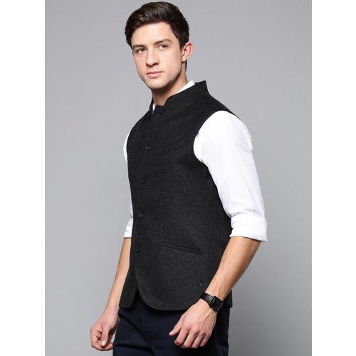 Blackberrys Men Charcoal Grey Solid Slim Fit Nehru Jacket