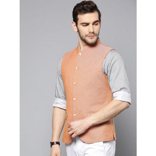 Blackberrys Men Orange Self-Design Slim Fit Nehru Jacket
