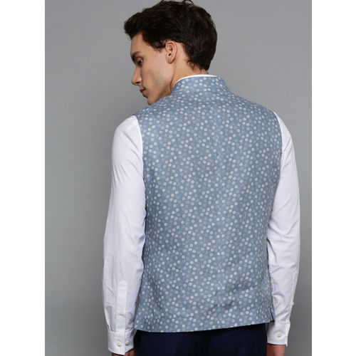 Blackberrys Men Blue Printed Slim Fit Linen Smart Casual Nehru Jacket