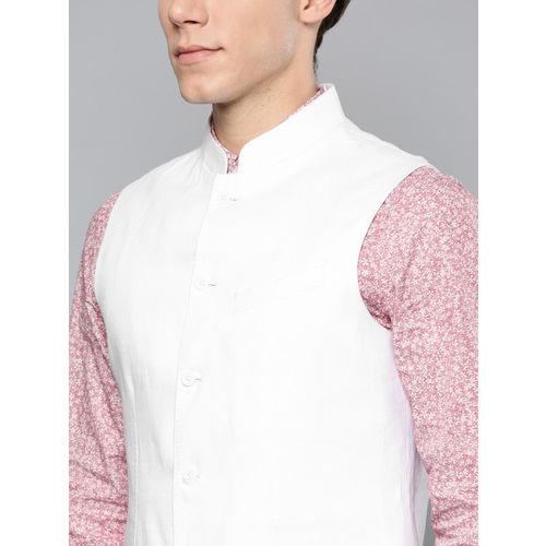 Blackberrys Men White Linen Solid Slim Fit Nehru Jacket