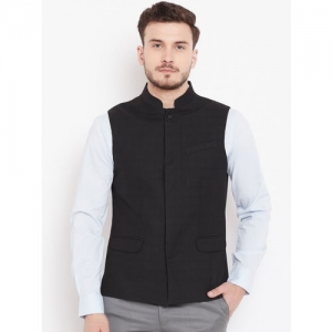 Blackberrys Men Black Self-Design Nehru Jacket