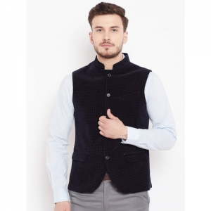 Blackberrys Men Navy Blue Self-Design Nehru jacket