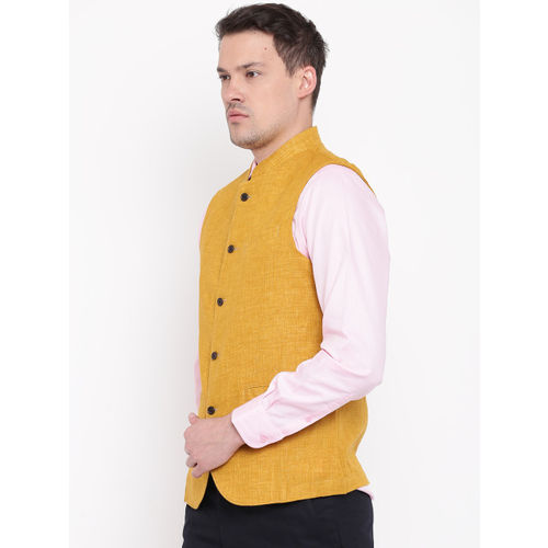 Blackberrys Mustard Yellow Solid Slim Fit Nehru Jacket