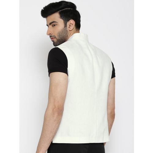 Blackberrys White Solid Slim Fit Linen Nehru Jacket