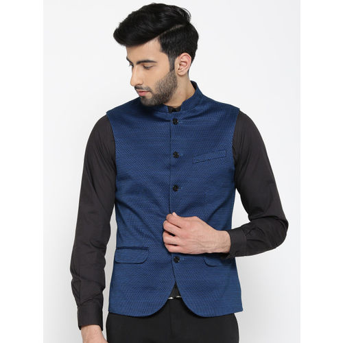 Blackberrys Blue & Black Patterned Slim Fit Nehru Jacket