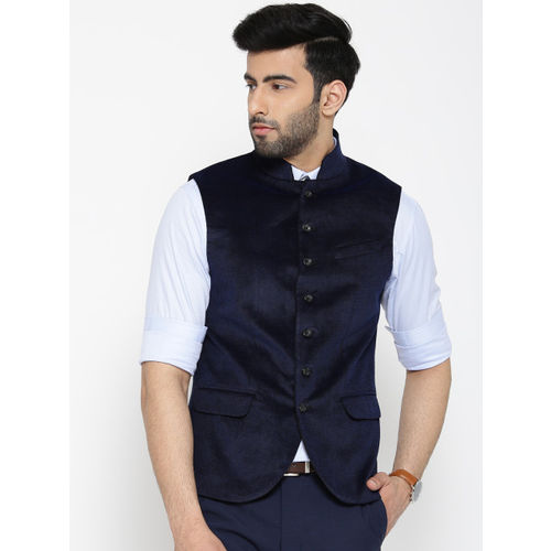 Blackberrys Navy Self-Design Slim Fit Nehru Jacket