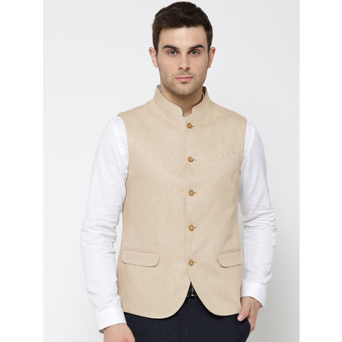 Blackberrys Beige Linen Solid Slim Fit Nehru Jacket