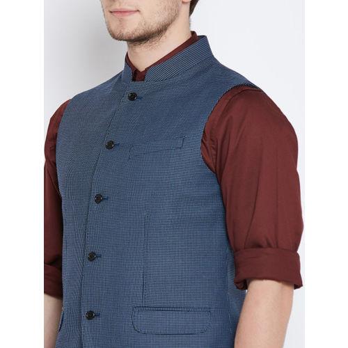 Blackberrys Blue Patterned Slim Fit Nehru Jacket