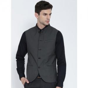 Blackberrys Charcoal Grey Patterned Slim Fit Waistcoat