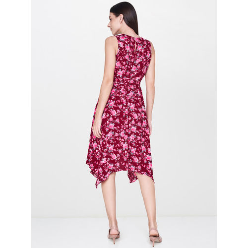 AND Women Maroon Printed Fit and Flare Dress