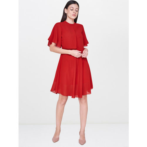 AND Women Red Solid A-Line Layered Dress