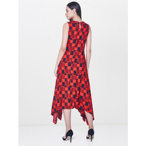 AND Women Red & Black Printed A-Line Dress