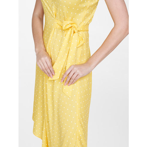 AND Women Yellow Printed A-Line Dress