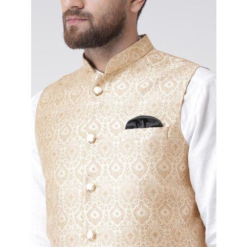Hangup Men Gold-Coloured Printed Nehru Jacket