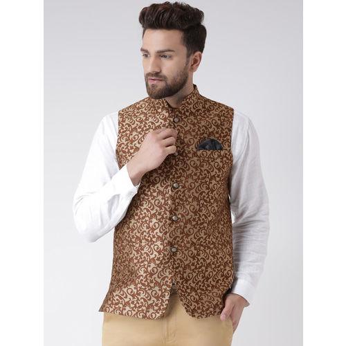 Hangup Men Brown Printed Nehru Jacket