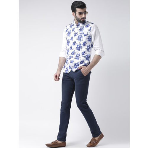 Hangup Men White & Blue Floral Printed Nehru Jacket