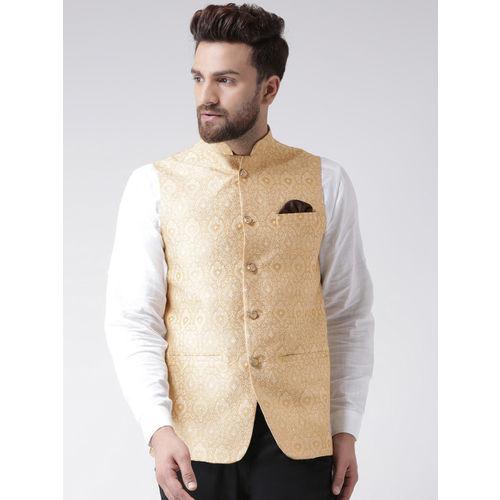 Hangup Men Gold-Toned Printed Nehru Jacket