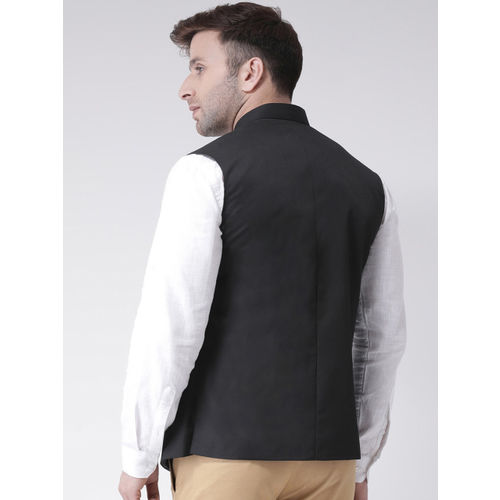 Hangup Men Black Solid Nehru Jacket