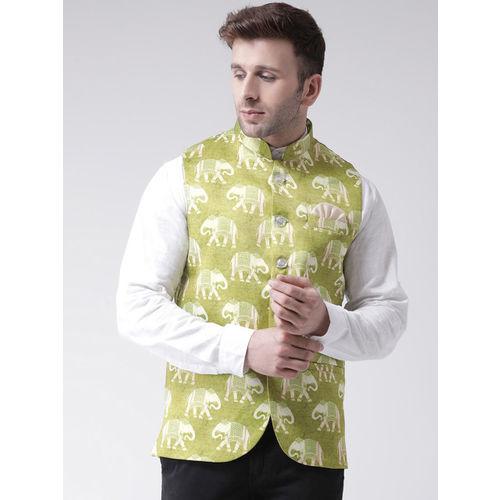 Hangup Men Green Printed Nehru Jacket