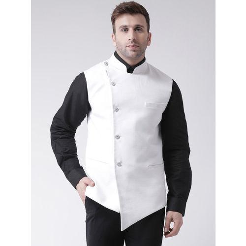Hangup Men White Solid Nehru Jacket