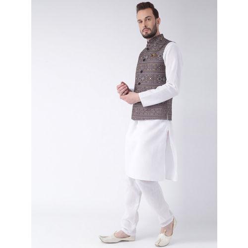 Hangup Men Grey Printed Nehru Jacket