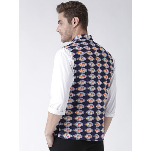 Hangup Men Navy Blue & Red Printed Nehru Jacket