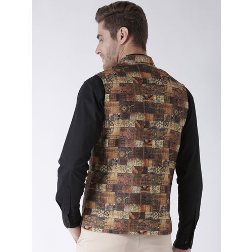 Hangup Men Brown Printed Nehru Jacket