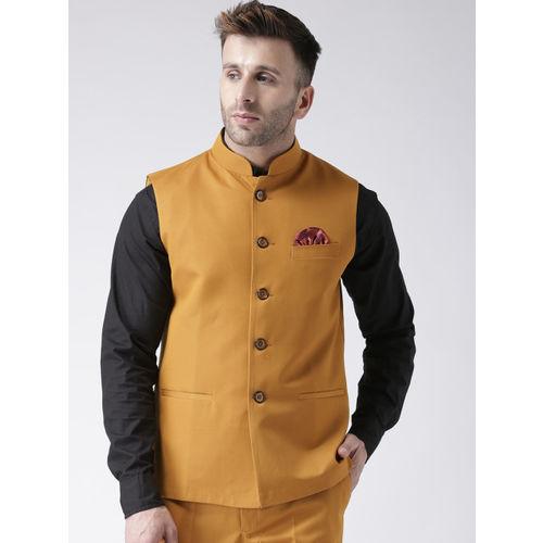 Hangup Men Mustard Orange Solid Woven Nehru Jacket