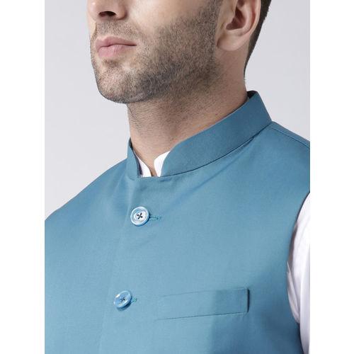 Hangup Men Blue Solid Woven Nehru Jacket